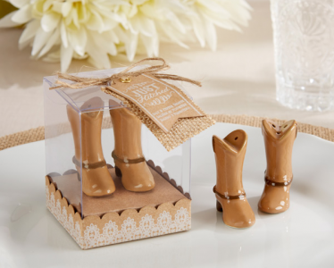 "WMSB2025 ""Just Hitched"" Ceramic Cowboy Boot Salt and Pepper Shakers - As low As RM 4.80/Box"