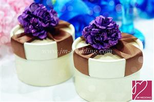 PHBR3014-5 Purple Sparkle Rose Round Favor Box with Brown Ribbon- As Low As RM2.20 /Pc