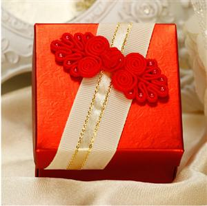 PLBS3002-1 Red Square Shape Paper Box With Chinese Ribbon - As Low As RM1.50 / Pc