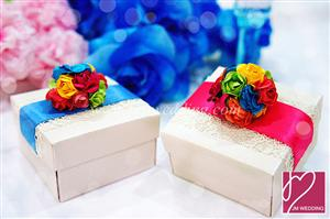 PLBS3006 Colorful Roses Lace Square Paper Box With Ribbons (Fold) - As Low As RM2.50