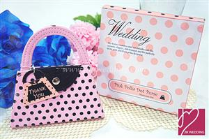 WMSO2001 Pink Polka Dot Purse Manicure Set Shower Favors - As low as RM5.40 / Pc