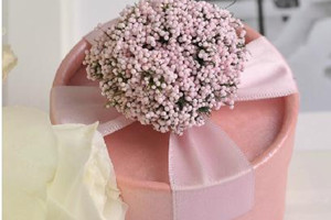 PHBR3002-1  Pink Gypsophila Round Candy Box with roses - As Low As RM2.20 /Pc