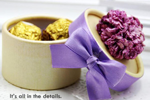 PHBR3008 Purple Flower Round Candy Box with ribbon - As Low As RM2.20 /Pc